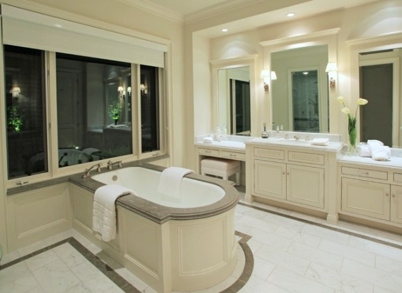 lady gaga`s rented house $25,000 per month soaker tub grey and white luxurious bathroom