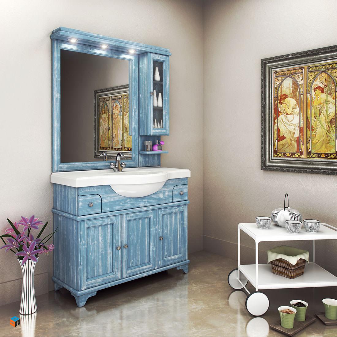 vintage έπιπλο μπάνιου γαλάζιο χρώμα