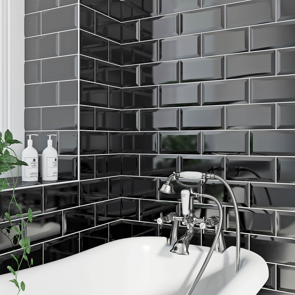 Black Gloss Kitchen Wall Tiles: PARASKEVOPOULOS