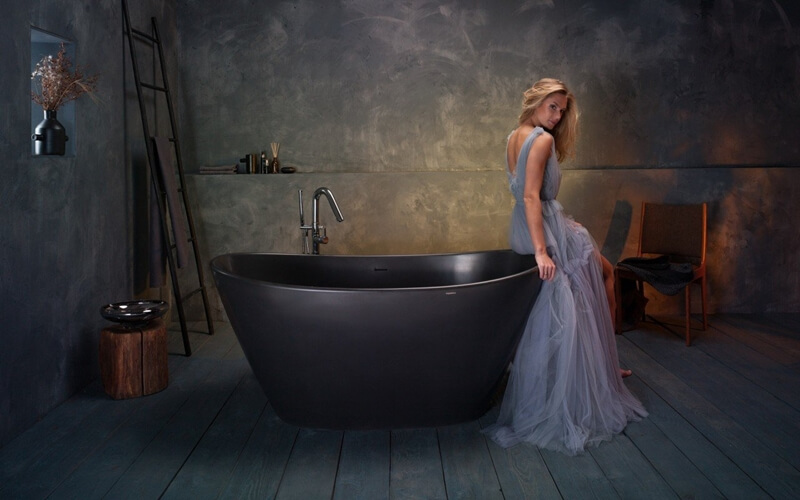 Purescape 748M Black Freestanding Stone Bathtub web 6