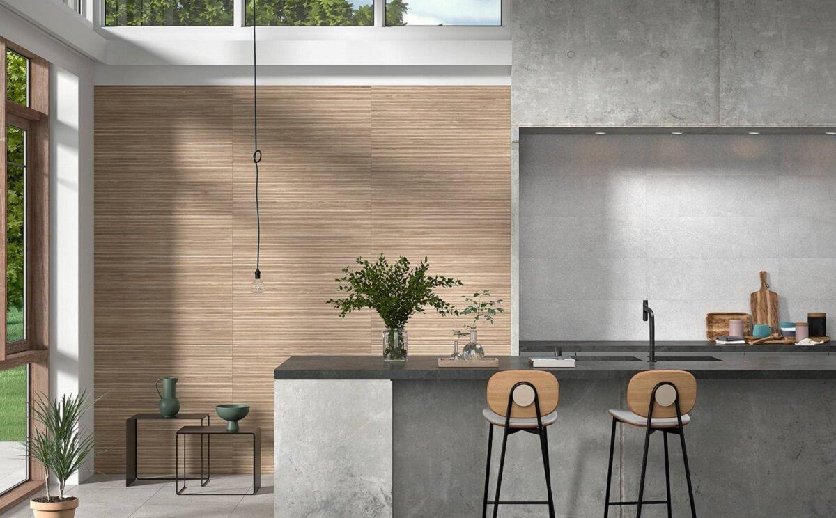 Επένδυση τοίχου εσωτερικού χώρου με πλακάκια Linnear
